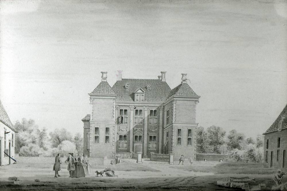 Het Weldam in Goor. Tekening Abraham de Haen, ca.1750